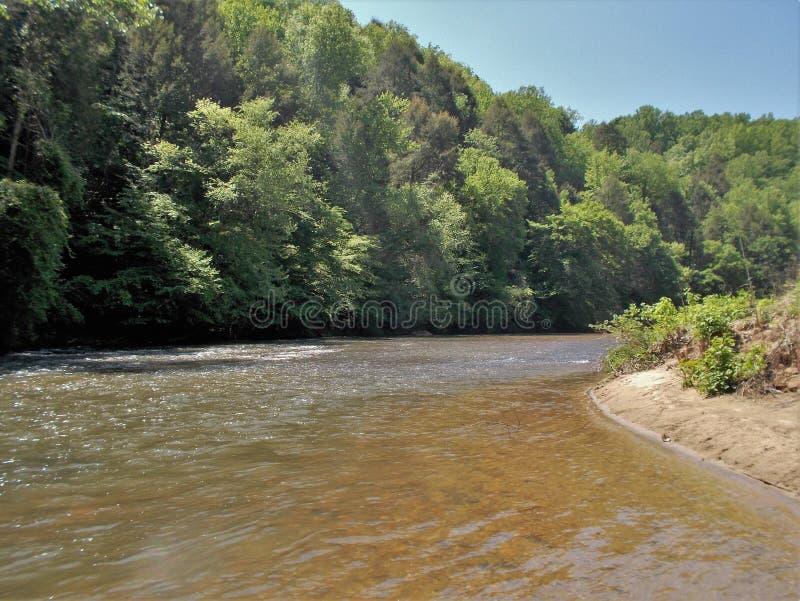 Dan River Bend. A bend in a section of the Dan River near Danbury, North Carolina stock photo