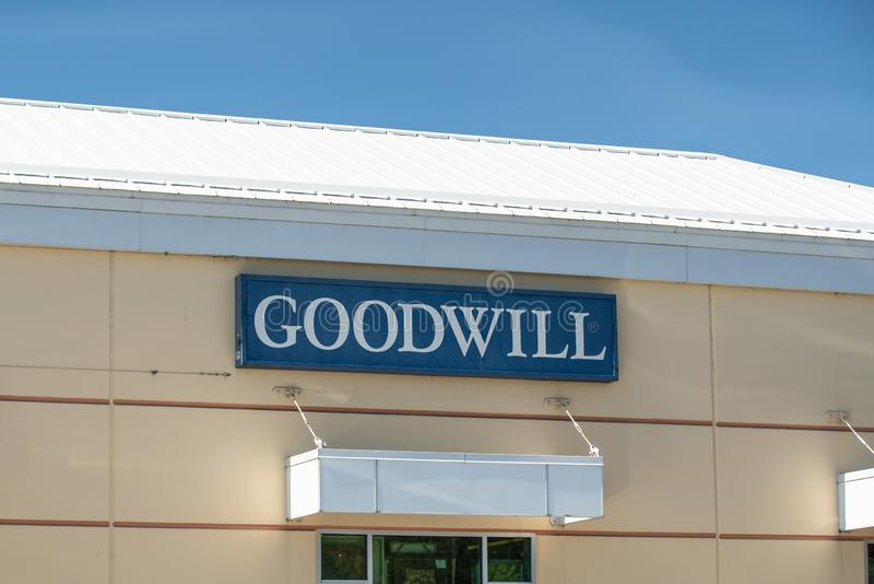 Goodwill store entrance sign stock photography