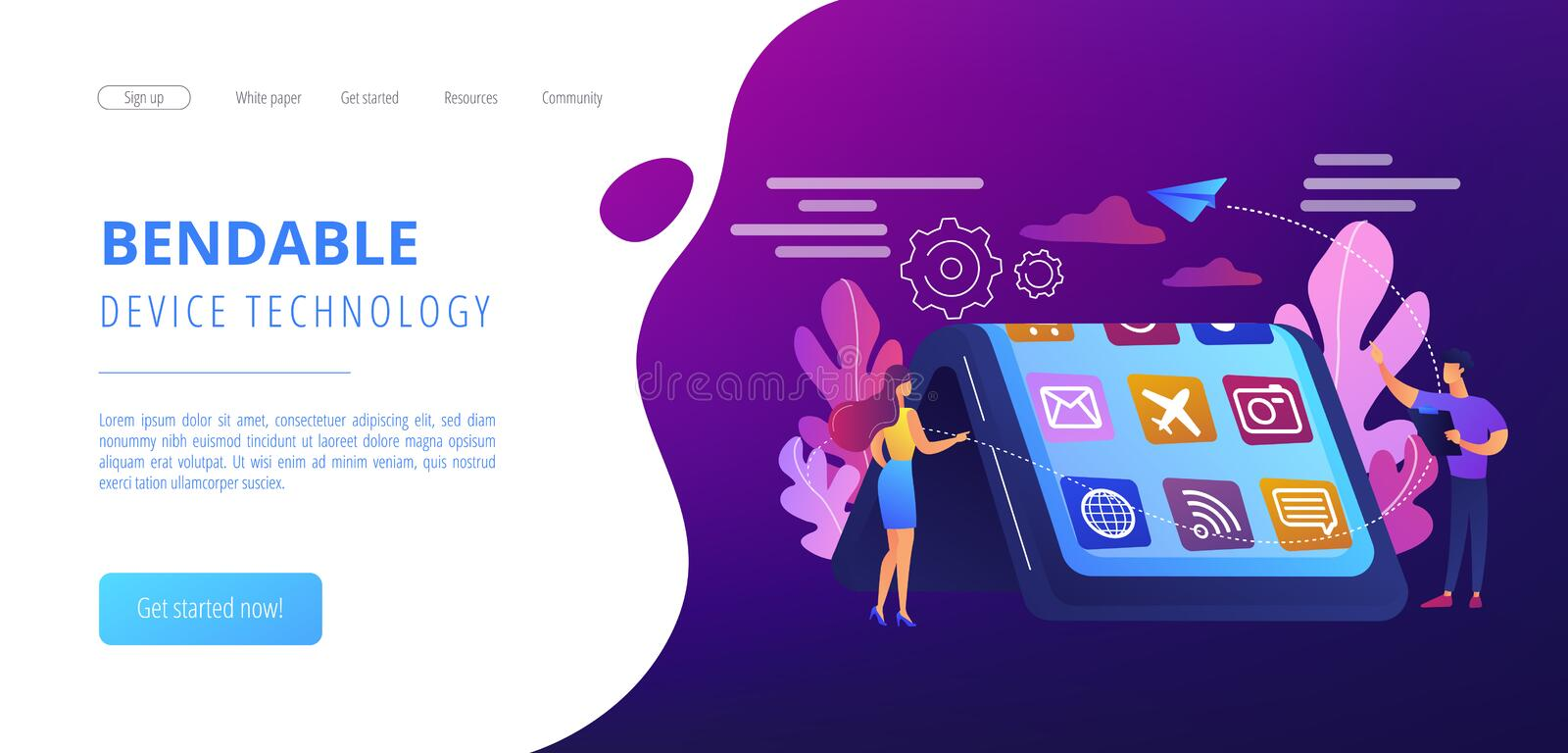 Bendable device technology concept landing page. Tiny people at big smartphone with flexible display. Bendable device technology, flexible display device, next royalty free illustration