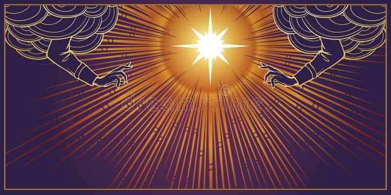 Bendición divina Estrella con la radiación de los haces luminosos detrás y la bendición de las manos que alcanzan hacia fuera de  libre illustration