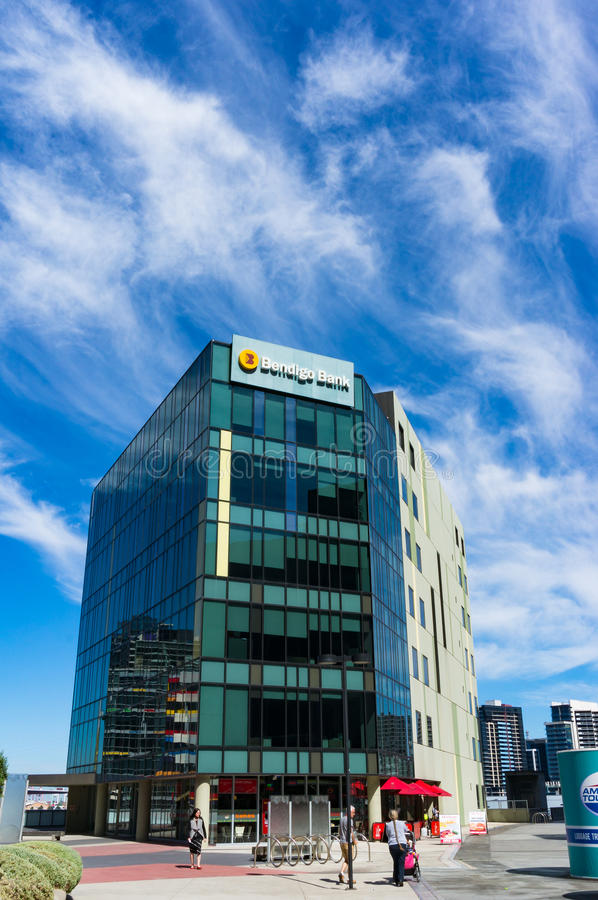 Bendigo Bank branch building on 120 Harbour Esplanade, Docklands royalty free stock images