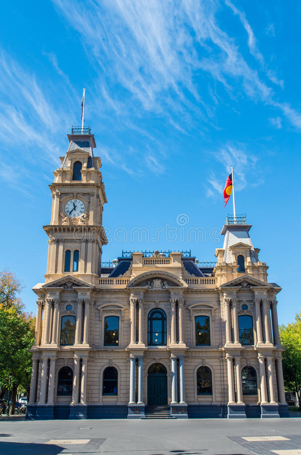 Bendigo Town Hall with clock tower in Australia royalty free stock images