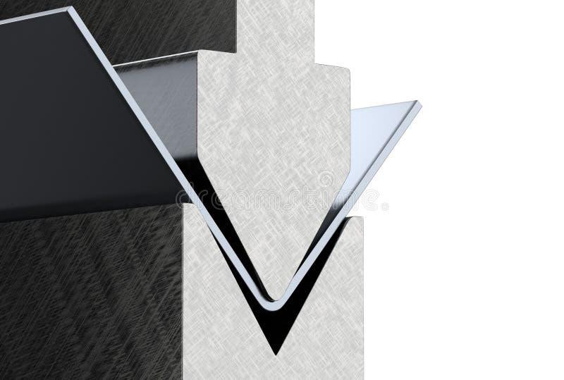 Bending metal sheet by sheet bending machine 3d render. Bending metal sheet by sheet bending machine 3d illustration royalty free illustration