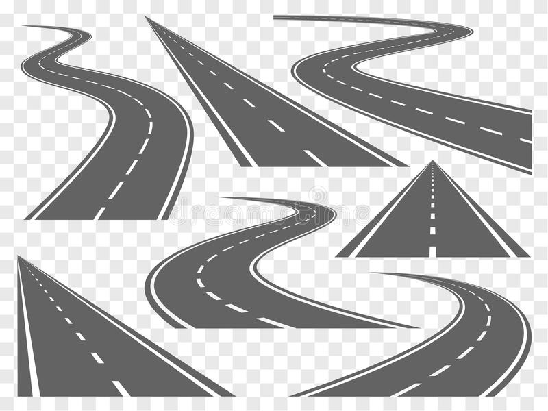 Bending roads vector set. Set of Bending roads and highways vector illustrations stock illustration