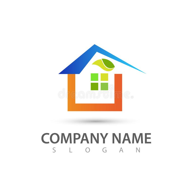 Bene immobile e modello verde delle icone di logo di concetto delle costruzioni domestiche Reale, logo, modello illustrazione di stock