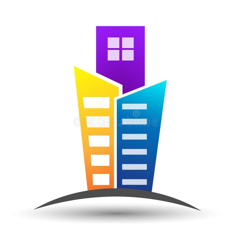 Bene immobile, piano, costruire e progettazione di logo degli appartamenti illustrazione vettoriale