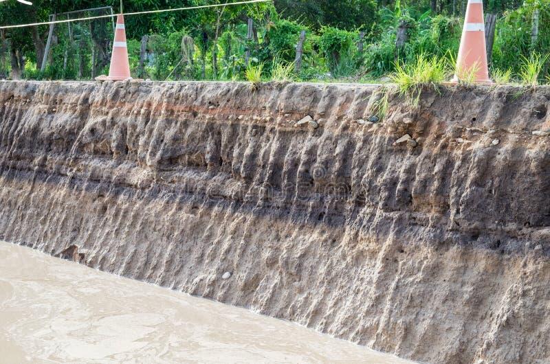 Beneath the asphalt. Layer of soil beneath the asphalt road. stock images