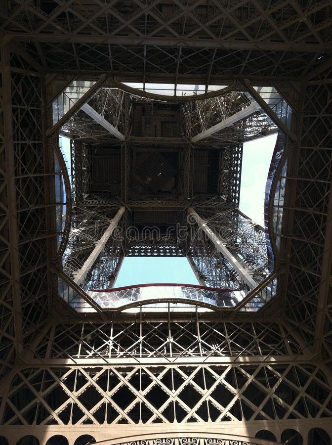 Beneath the Eiffel Tower stock photography