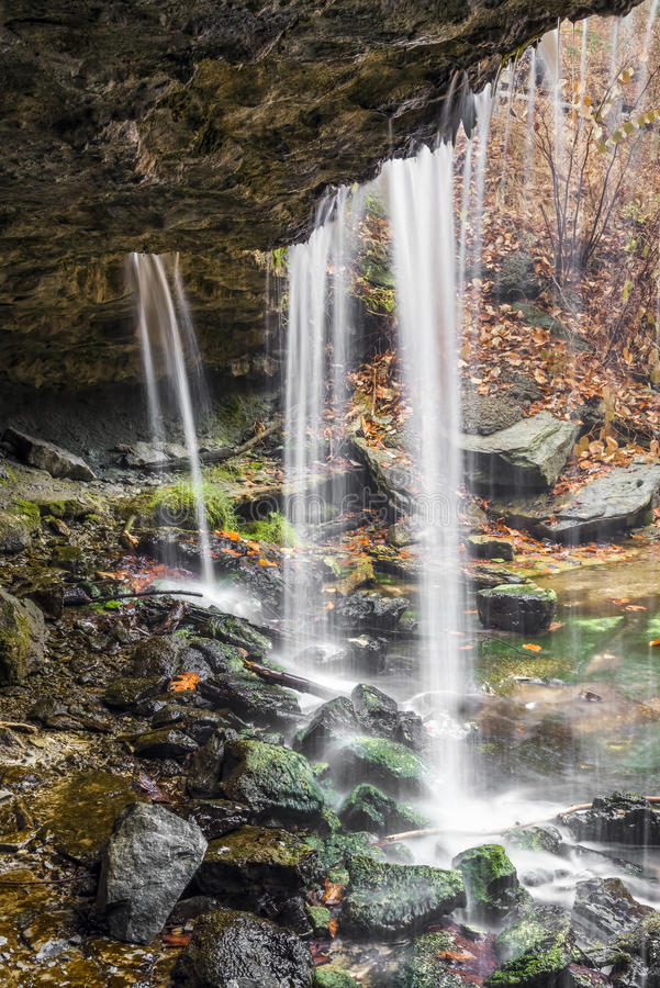 Beneath the Waterfall at Oglebay stock photo