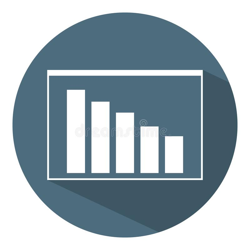 Benedenwaarts Grafiekpictogram Bedrijfs concept programma Vlakke stijl Vectorillustratie voor Ontwerp, Web, Infographic royalty-vrije illustratie
