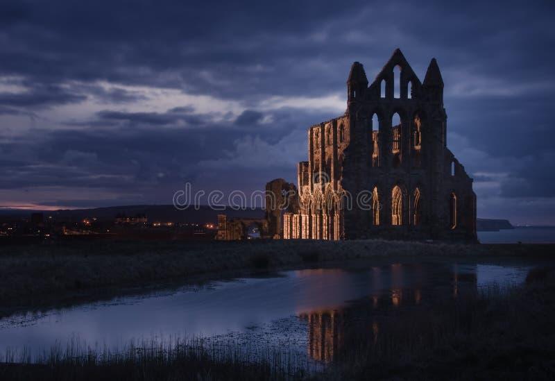 Benedictine Abbey in the dark [Whitby, UK] stock photos
