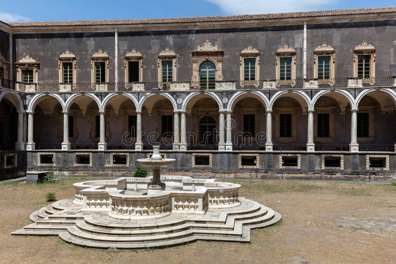 Benedictine Monastery of San Nicolo l`Arena in Catania, Sicily, royalty free stock images