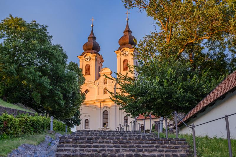 Benedictine Tihany abbotskloster i Tihany, Balaton, Ungern arkivbild