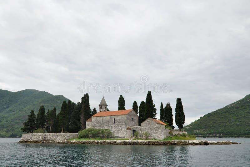 Benediktinerkloster auf Heiligem George Island, Bucht von Kotor, Montenegro stockbilder