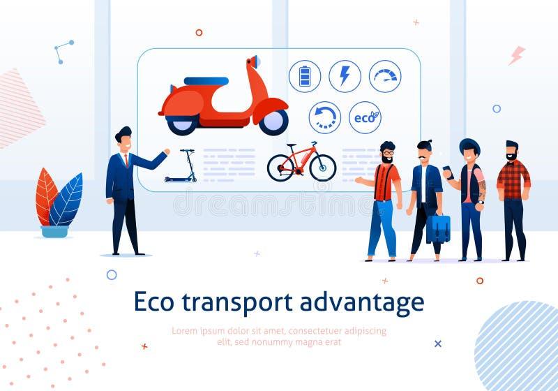 Benefício do 'trotinette' da E-bicicleta da vantagem do transporte de Eco ilustração do vetor