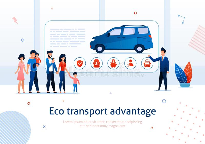 Benefício ecológico da carrinha da vantagem do transporte de Eco ilustração royalty free