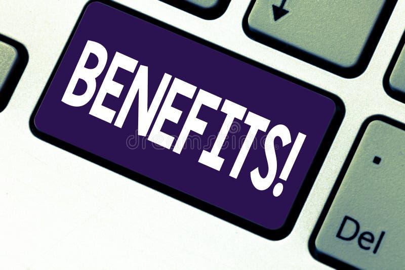 Benefícios da escrita do texto da escrita Caminhada do significado do conceito na permissão e no salário para empregados superior fotografia de stock royalty free