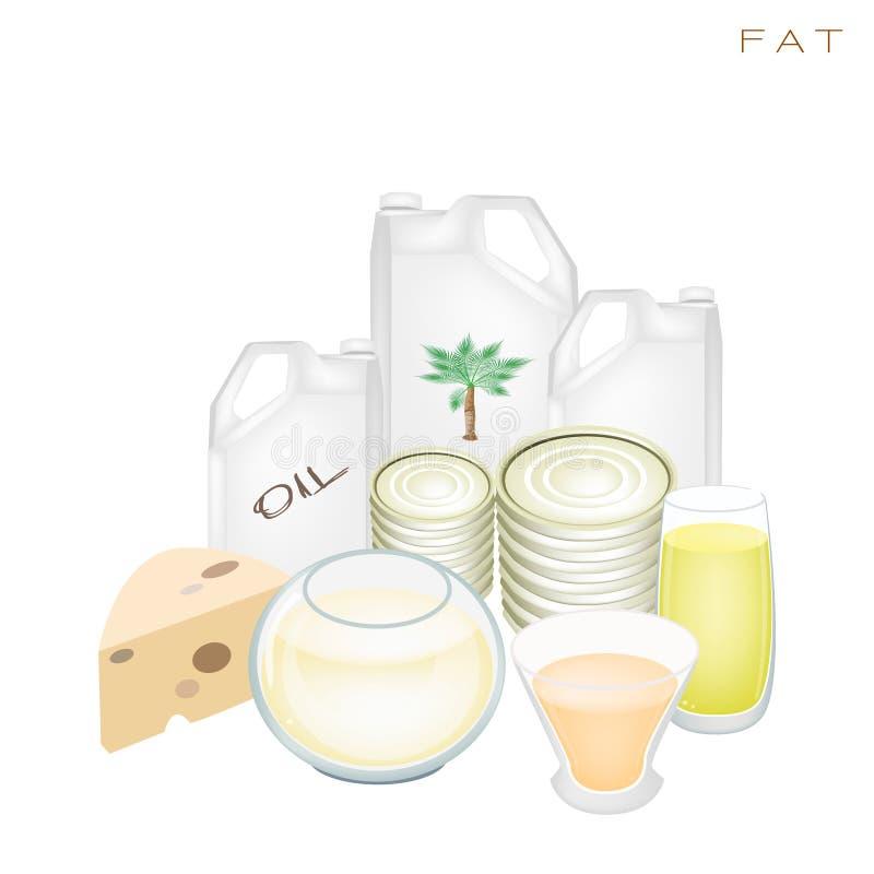 Benefícios da saúde e da nutrição de produtos gordos ilustração royalty free