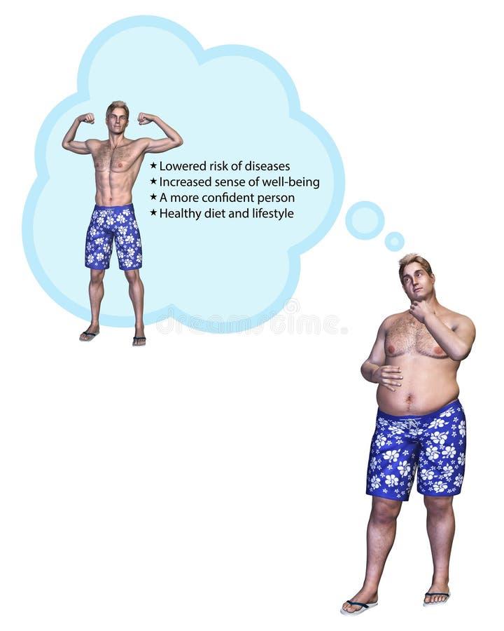 Benefícios de pensamento do homem de perder a ilustração do peso ilustração royalty free