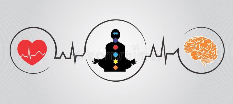 Benefícios de saúde da ioga de uma ilustração do vetor fotos de stock royalty free