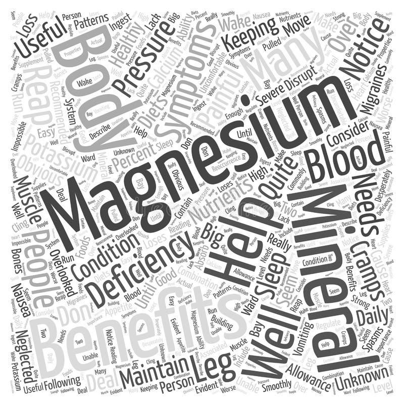 Benefícios do conceito da nuvem da palavra do magnésio ilustração royalty free