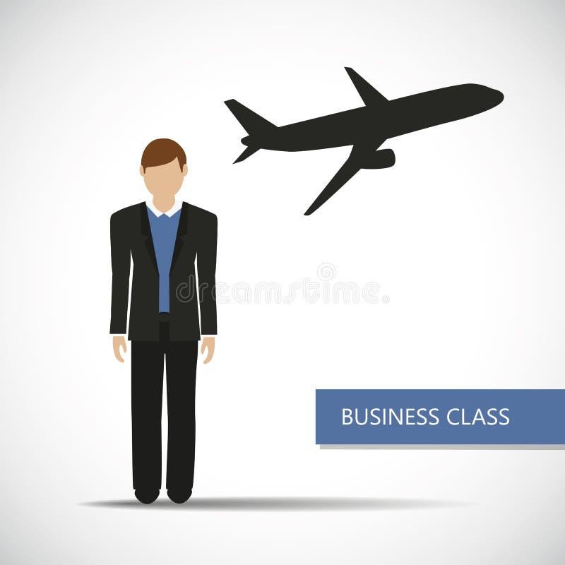 Benefícios dos voos no caráter do homem de negócios da classe executiva ilustração stock