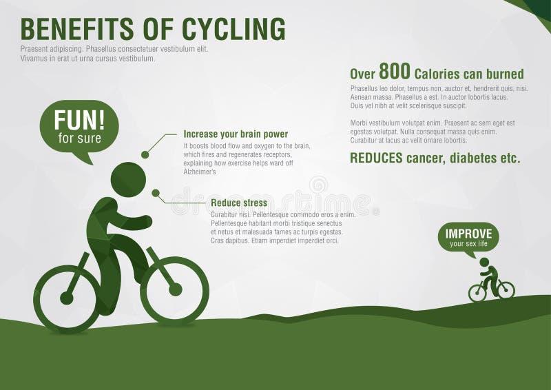 Benefícios gráficos da informação do ciclismo com uma textura do diamante do pixel ilustração do vetor