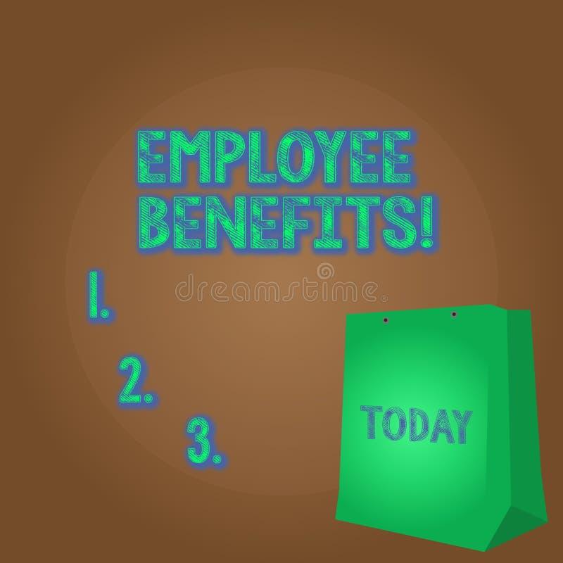 Benefici degli impiegati del testo di scrittura di parola Concetto di affari per la compensazione dei contanti non ed indiretta p illustrazione di stock