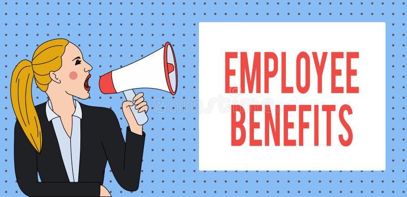 Benefici degli impiegati del testo di scrittura di parola Il concetto di affari per la compensazione del noncash ed indiretta ha  illustrazione di stock