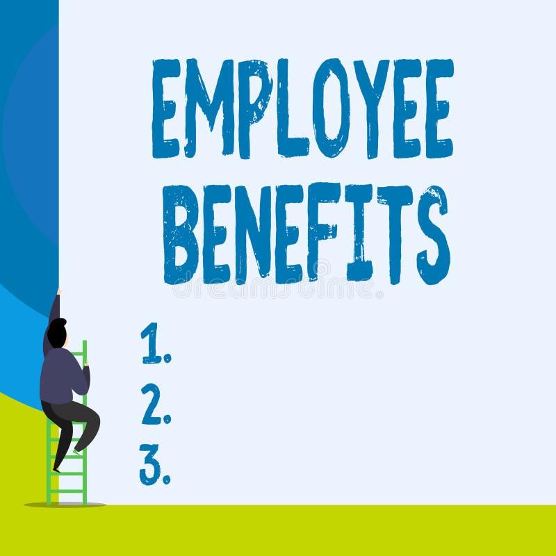 Benefici degli impiegati del testo di scrittura di parola Il concetto di affari per la compensazione del noncash ed indiretta ha  illustrazione vettoriale