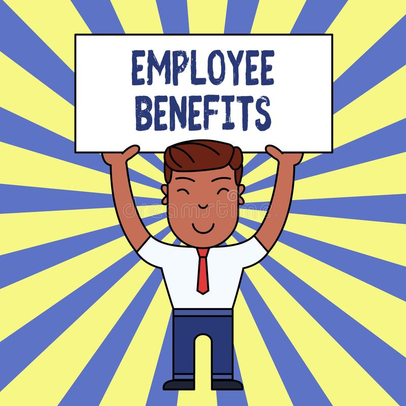Benefici degli impiegati di scrittura del testo della scrittura Significato di concetto indiretto e compensazione del noncash pag illustrazione di stock