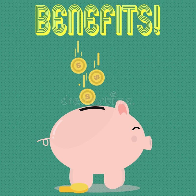 Benefici del testo della scrittura Concetto che significa l'aiuto di guadagno del reddito di interesse della compensazione di ass illustrazione vettoriale