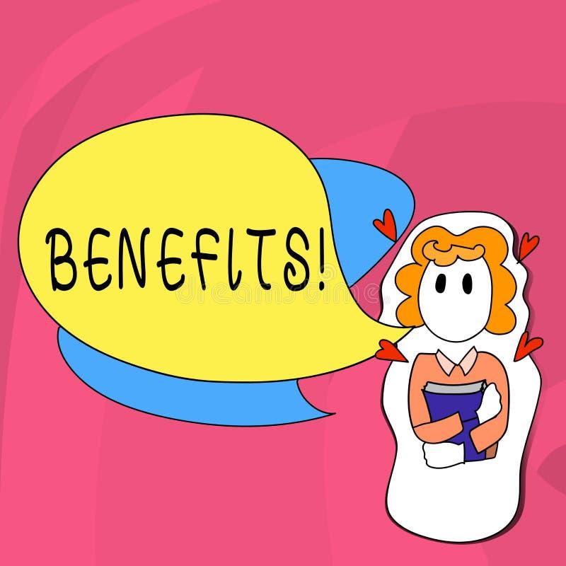 Benefici del testo di scrittura di parola Concetto di affari per l'aiuto di guadagno del reddito di interesse della compensazione illustrazione vettoriale