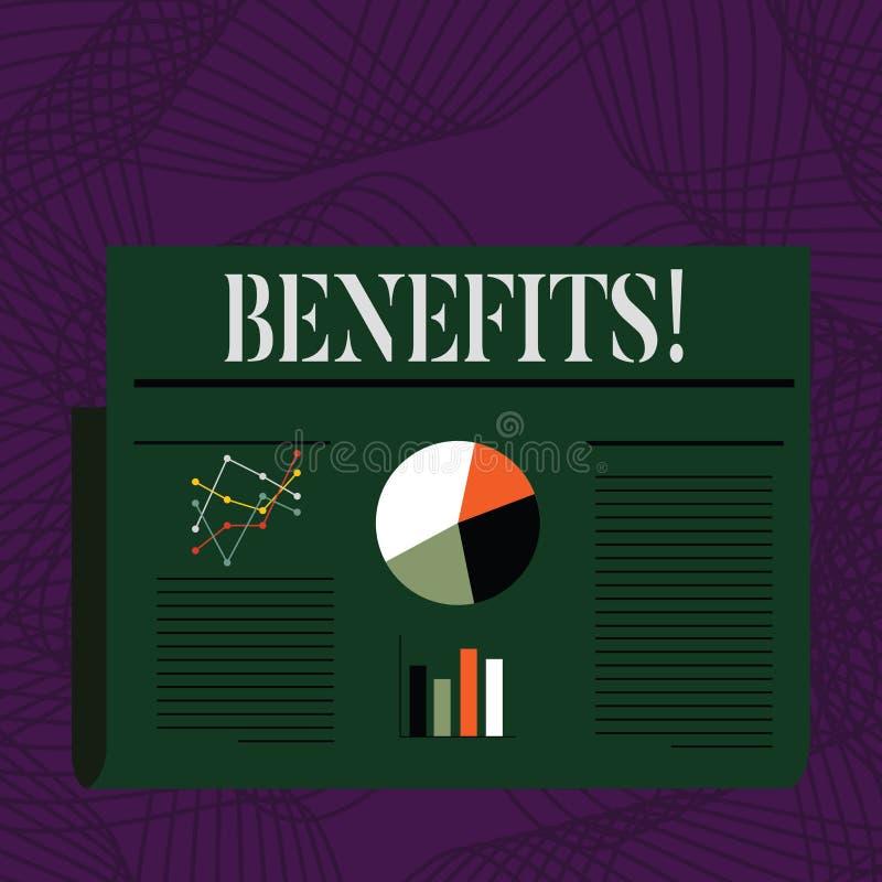 Benefici del testo di scrittura di parola Concetto di affari per l'aiuto di guadagno del reddito di interesse della compensazione illustrazione di stock