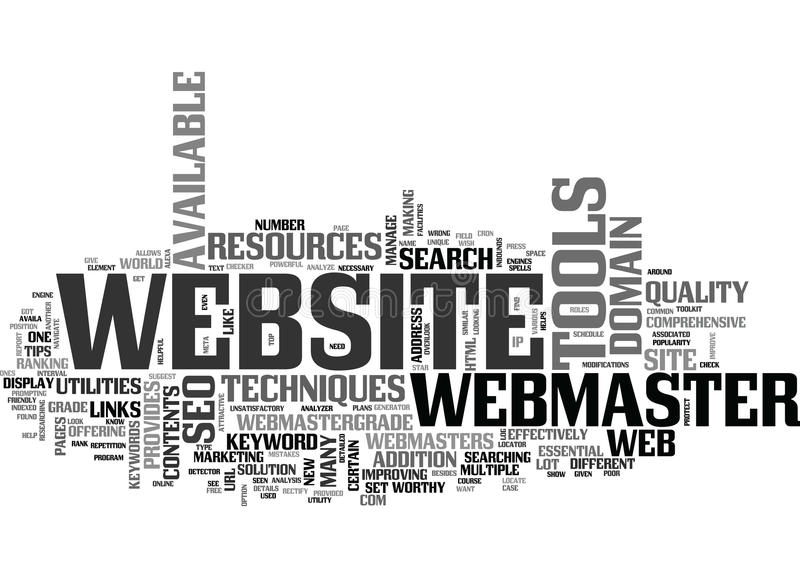 Benefici della nuvola di parola di Toolkit And Resources di webmaster illustrazione vettoriale