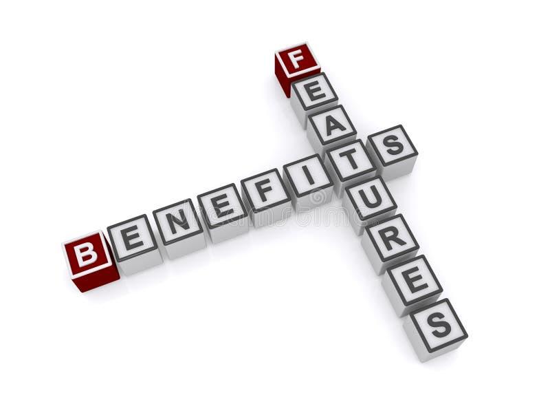 Benefici e caratteristiche illustrazione di stock