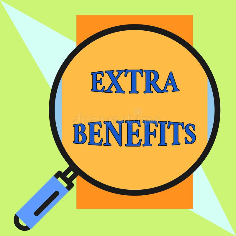 Benefici extra del testo della scrittura Le indennità supplementari di incentivi di sovvenzioni di indennità della compensazione  illustrazione di stock
