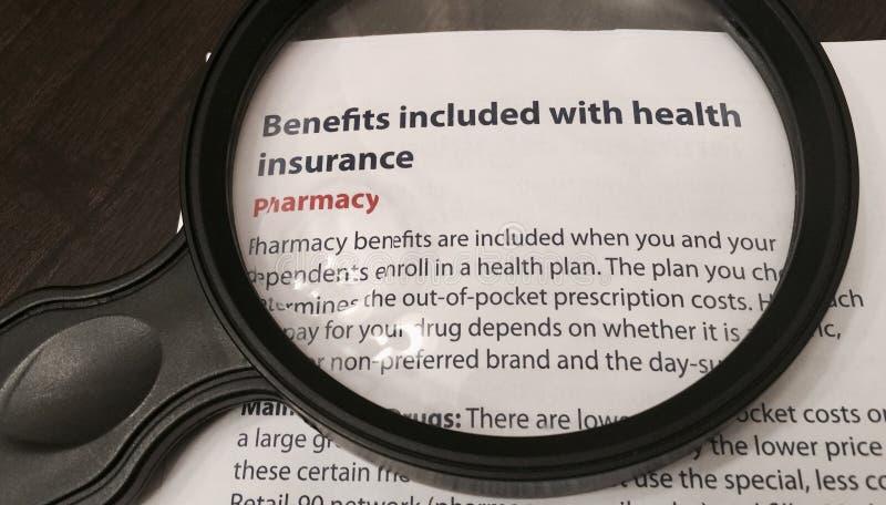 Benefici inclusi con assicurazione malattia fotografie stock