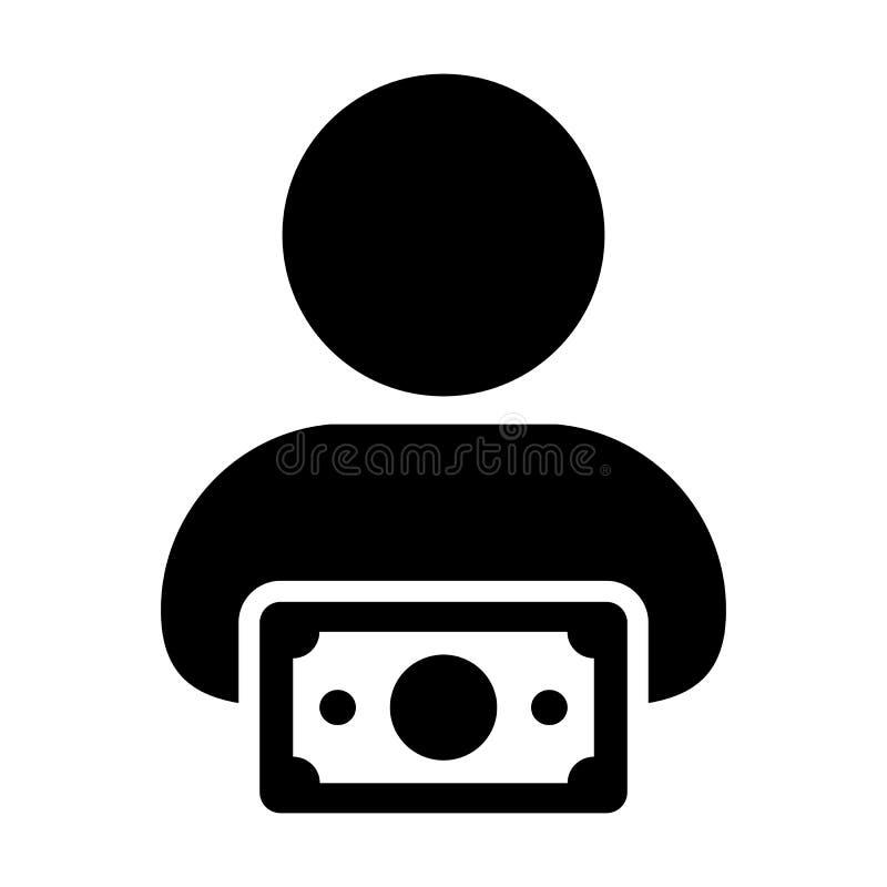 Beneficie al avatar masculino del perfil de la persona del usuario del vector del icono con símbolo del dinero en pictograma plan libre illustration
