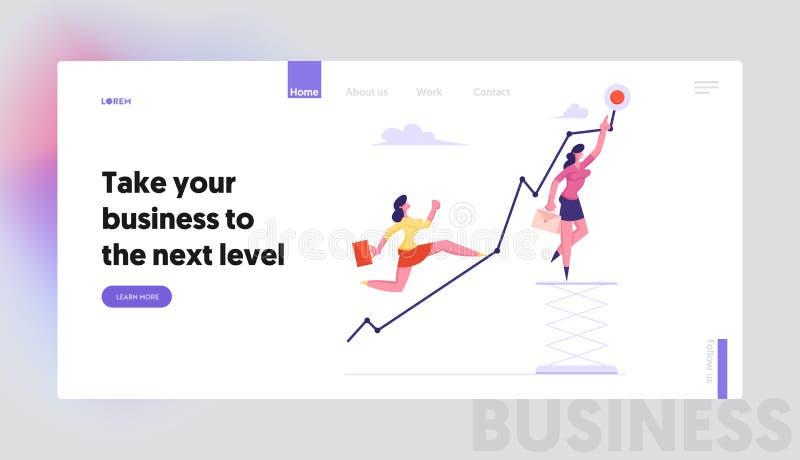 Beneficio cada vez mayor, página del aterrizaje de la página web del desafío, mujer de negocios que corre para arriba creciendo l ilustración del vector