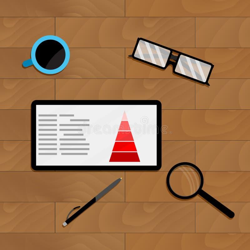 Beneficio de la carta del márketing en la tableta ilustración del vector