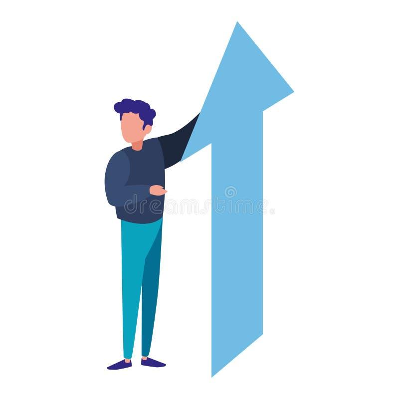Beneficio financiero del crecimiento de la flecha del hombre de negocios ilustración del vector