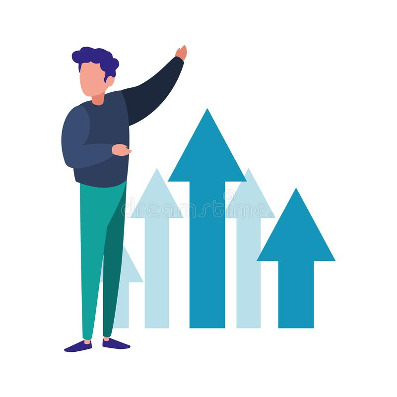 Beneficio financiero del crecimiento de las flechas del hombre de negocios ilustración del vector