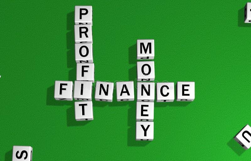 Beneficio, finanzas y dinero de los dados stock de ilustración