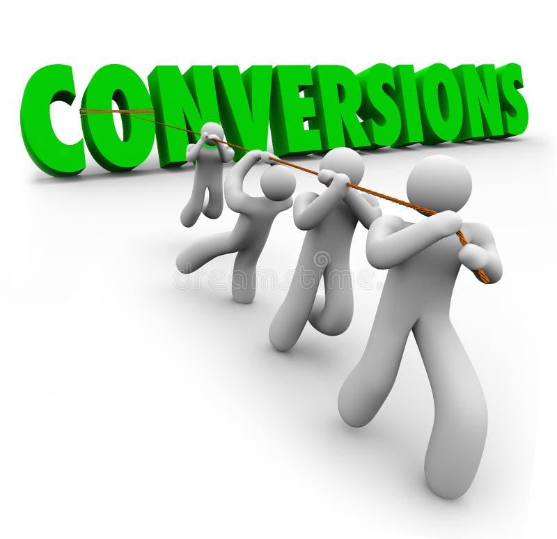 Beneficios de Team Pulling Together Increasing Sales de la palabra de las conversiones libre illustration