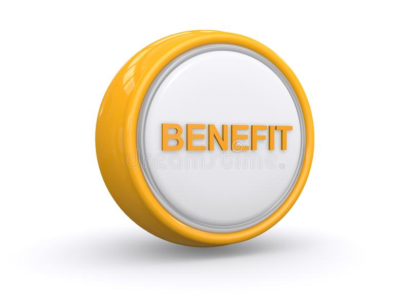 Benefit button. Yellow glossy benefit button isolated on white background vector illustration