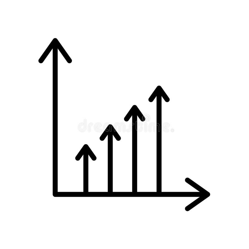 Benefit chart icon isolated on white background. For your web and mobile app design stock illustration