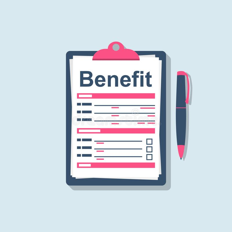 Benefit concept. Clipboard and pen. Form benefit. royalty free illustration