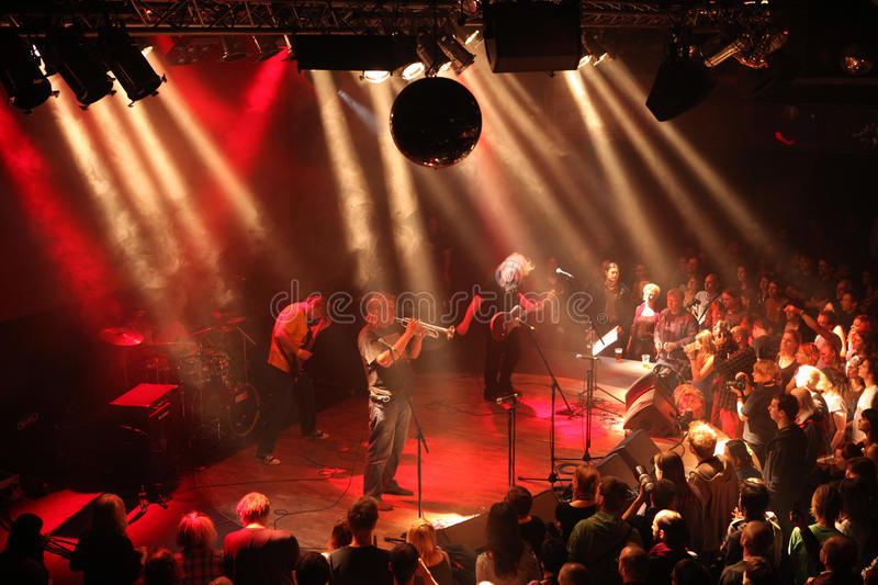 Benefit concert for Riot in Prague, Czech Republic. PRAGUE, CZECH REPUBLIC - MAY 15, 2012: Czech rock band Uz Jsme Doma (We are at Home Already) performs on royalty free stock image