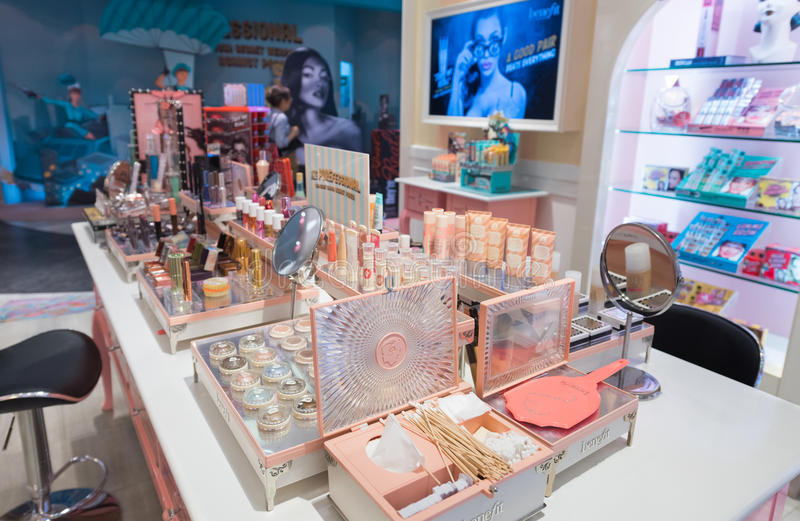 Benefit cosmetics at Sephora store, Kuala Lumpur. KUALA LUMPUR - JUNE 15, 2017: Benefit cosmetics at Sephora store in Bukit Bintang. Benefit Cosmetics LLC is a royalty free stock photography